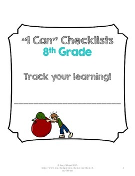 "LAFS, MAFS , NGSS ""I Can"" Student Checklists for 8th Grade Florida Standards"
