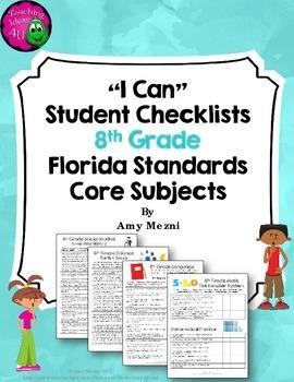 """LAFS & MAFS """"I Can"""" Student Checklists for 8th Grade Flori"""