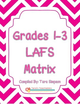 Language Arts Florida Standards Matrix for Grades 1, 2, 3.