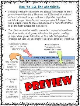 LAFS Question Stems Checklist {5th Grade}