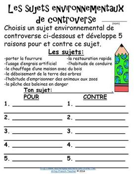 L'AIR, LA MER ET LA TERRE!  A French Earth Day Booklet of 8 pages for grades 2-6
