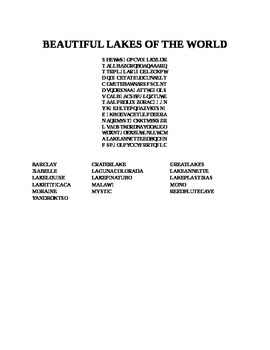 LAKES OF THE WORLD WORD SEARCH