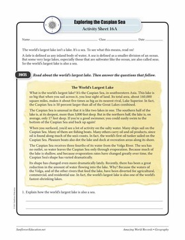 LAKES—Geography Worksheets and Activities