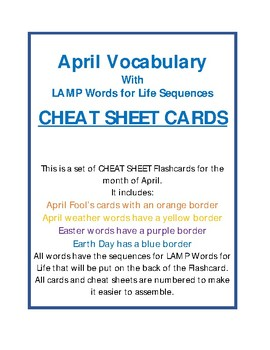LAMP - APRIL VOCABULARY CHEAT SHEET CARDS - Words for Life - AAC Device - WFL