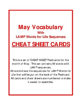 LAMP - MAY CHEAT SHEET CARDS - Words for Life - AAC Device - WFL
