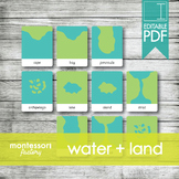LAND and WATER • Montessori Cards • Flash Cards • Three Pa