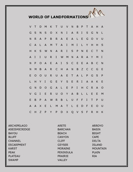 LANDFORMATIONS: GEOLOGY WORD SEARCH