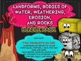 LANDFORMS, BODIES OF WATER, WEATHERING, EROSION, ROCKS BUN