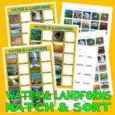WATER & LANDFORMS MATCH & SORT with PECS PHOTO CARDS autism speech therapy