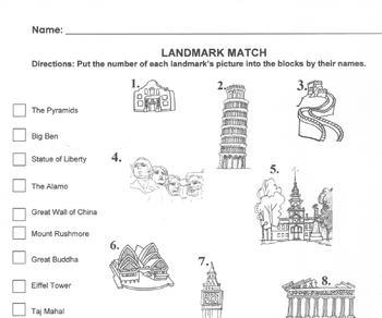 landmark match worksheet for webquest match 14 names to picture. Black Bedroom Furniture Sets. Home Design Ideas
