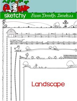 LANDSCAPE - Doodle Borders / Frames Farm Theme