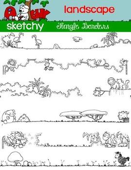 LANDSCAPE - Jungle Theme Doodle Borders / Frames