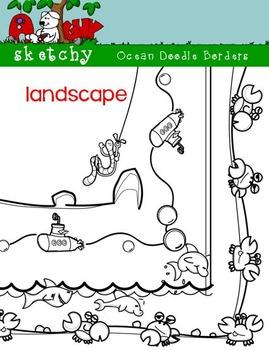 LANDSCAPE - Ocean Theme Doodle Borders / Frames
