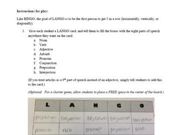 LANGO - A Parts of Speech Bingo Game (lango)