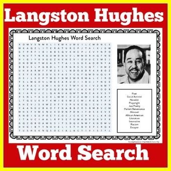 Langston Hughes Poetry | Langston Hughes Activity | Langston Hughes Word Search