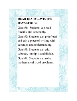 Language Arts and Math Lessons...Dear Diary...Winter Days