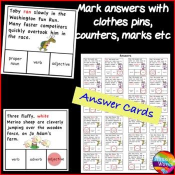 Identifying PARTS OF SPEECH Center Activities SET 1 Nouns Verbs Adverb Adjective