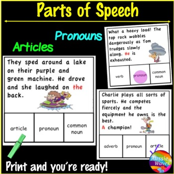 Identifying PARTS OF SPEECH Center Activities SET 2 PRONOUNS and ARTICLES