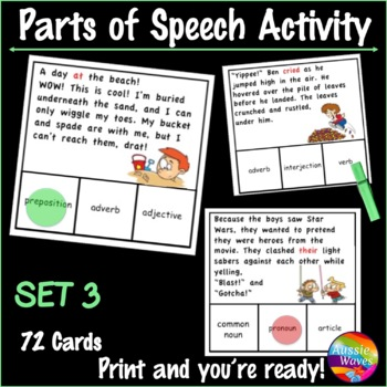 Identifying PARTS OF SPEECH Center Activities SET 3