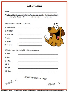 LANGUAGE ARTS REVIEW  • Grades 3–4 • GREAT BACK-TO-SCHOOL WARM-UPS
