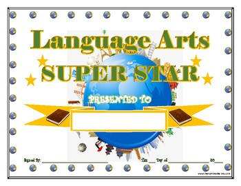 LANGUAGE ARTS Super Star Certificate!  For Primary and Middle School Grades!