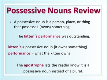 ELA POSSESSIVE NOUNS & CONTRACTIONS Apostrophes PowerPoint PPT