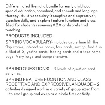 SPRING LANGUAGE BUNDLE FOR SPECIAL ED AND SPEECH THERAPY