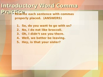 ELA COMMAS Direct Address, Introductory Words, Tag Questions PowerPoint PPT