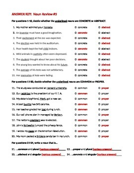 ELA NOUNS Singular/Plural, Common/Proper, Concrete/Abstract WORKSHEET #3 w/ Answ