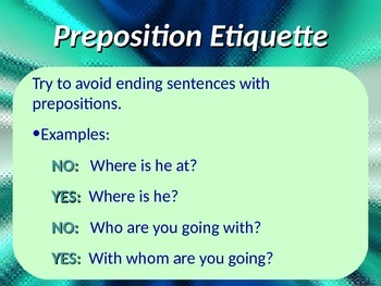 ELA PREPOSITIONS Objects of & Prepositional Phrases PowerPoint PPT