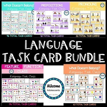 LANGUAGE TASK CARD BUNDLE (special education/autism)