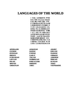 LANGUAGES OF THE WORLD WORD SEARCH