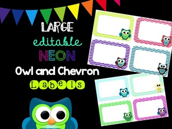 Editable Owl and Chevron NEON Labels (Large)