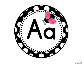 Black & White Polka Dot with Ladybugs Word Wall Headers {Two Size Choices}