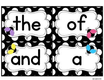Black & White Polka Dot with Ladybugs Word Wall Words