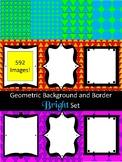 LARGE - Digital Paper and Border Bright Shapes Bundle