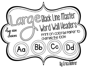 Black Line Master Word Wall Headers {Two Size Choices}
