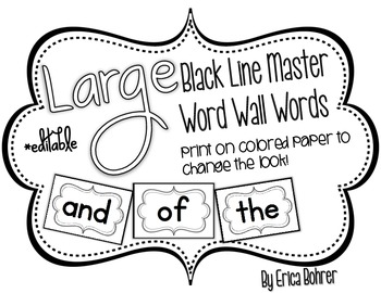 Black Line Master Word Wall Words