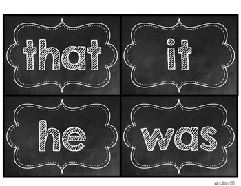 Black & White Chalkboard Word Wall Words