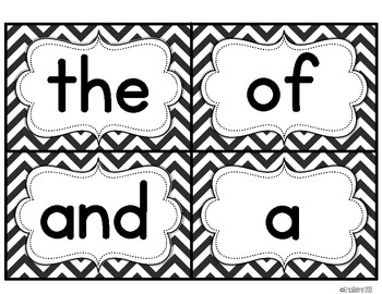 Black and White Chevron Word Wall Words
