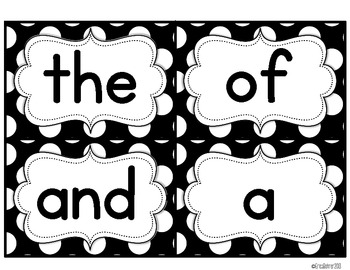 Black and White Polka Dot Word Wall Words