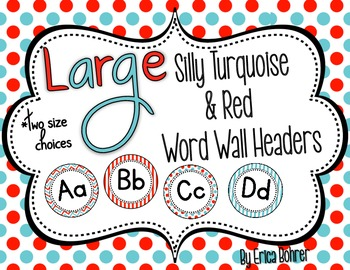 Turquoise and Red Word Wall Headers {Two Size Choices}