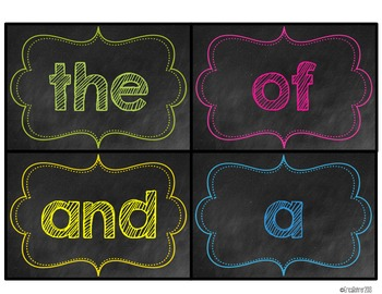 Bright Chalkboard Word Wall Words