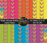 LARGE Bright Chevron Burlap Digital Papers {Commercial Use
