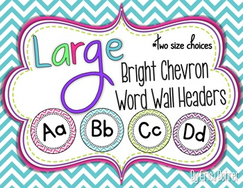 Bright Chevron Word Wall Headers {Two Size Choices}