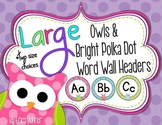 Bright Owls & Polka Dot Word Wall Headers {Two Size Choices}