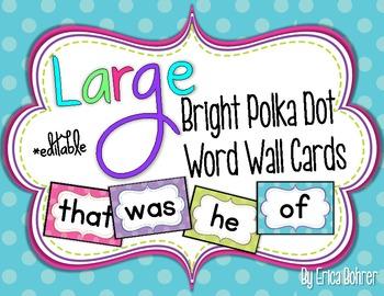 Bright Polka Dot Word Wall Words {Large}