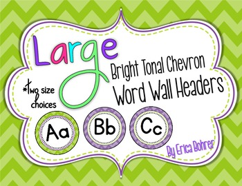 Bright Tonal Chevron Word Wall Headers {Two Size Choices}