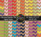 LARGE Chevron Burlap Mix Digital Papers {Commercial Use Di