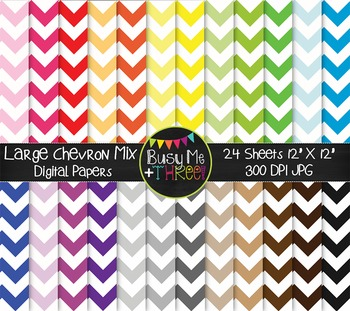 LARGE Chevron Mix Digital Papers {Commercial Use Digital G